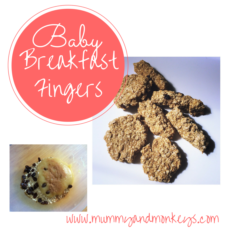 mess free baby breakfast fingers made with fruit puree, fruit pieces and oats, super quick and easy