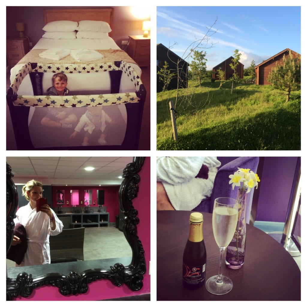 1. Pleased to be at our lodge. 2. The lodge in sunshine. 3. Spa time. 4. Prosecco!