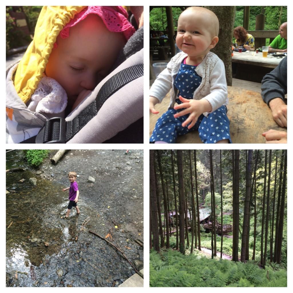 1. sleeping on Daddy. 2. Finding something funny! 3. paddling. 4. Camp Smokey