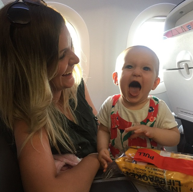 Ava on a plane for the first time