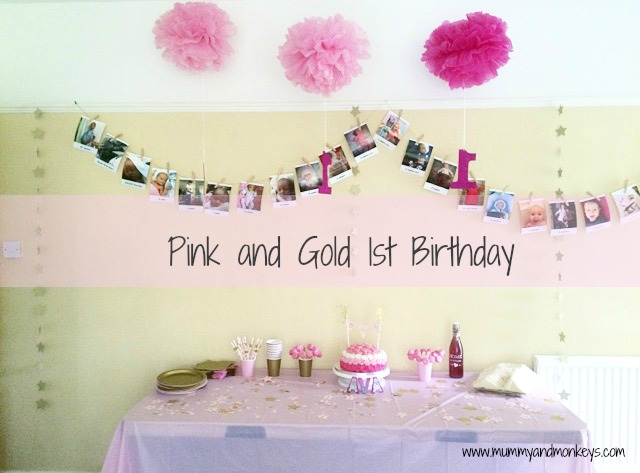 Pink and gold 1st Birthday theme