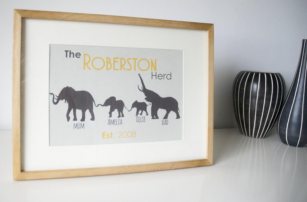 Personalised Elephant Print family gift