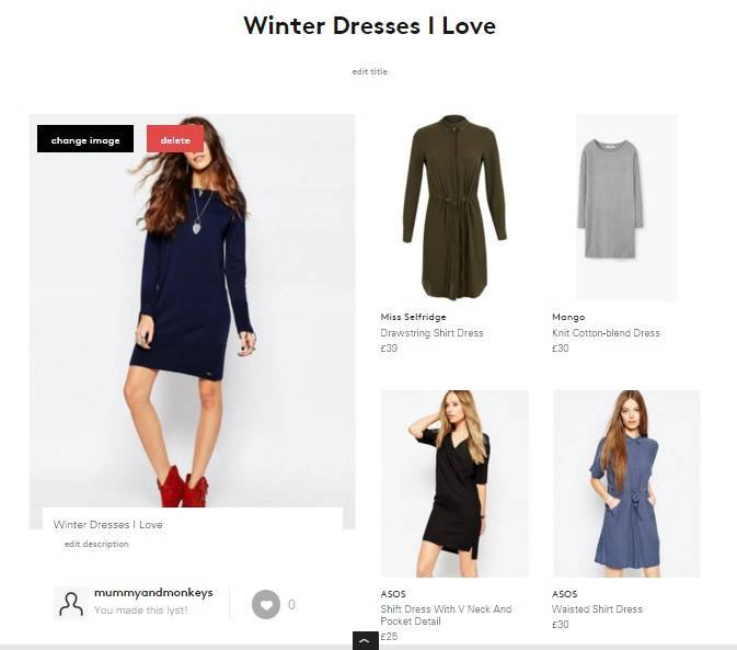 Winter dresses I love mood board with Lyst