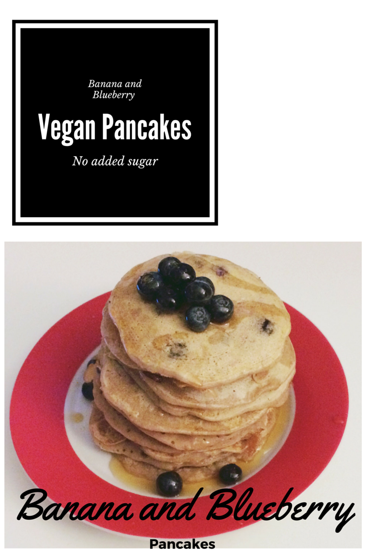 banana and blueberry vegan pancakes with no added sugar. Free from dairy, soya and egg.