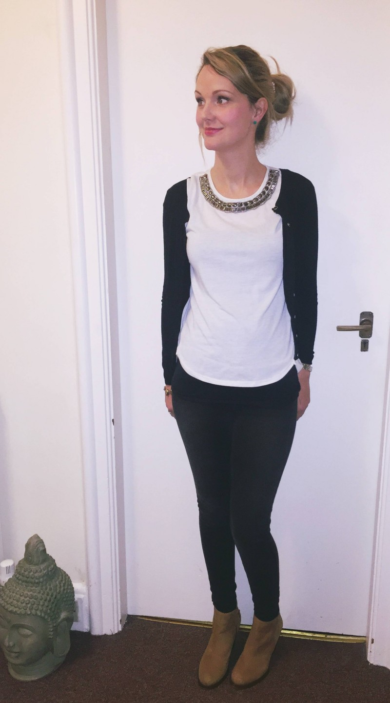 House of Fraser jean challenge. Grey jeans with an embellished cream top, black cardigan and tan high heel boots.
