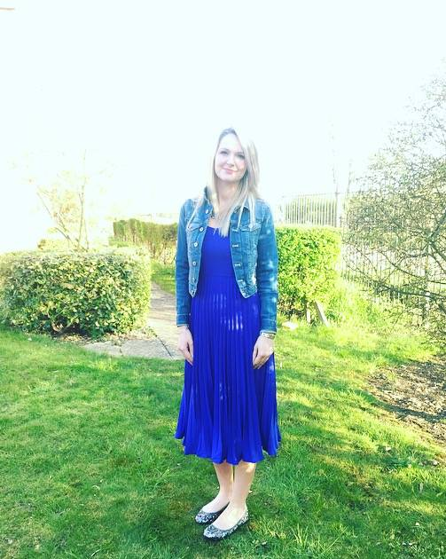Blue yumi pleated strappy dress from House of Fraser