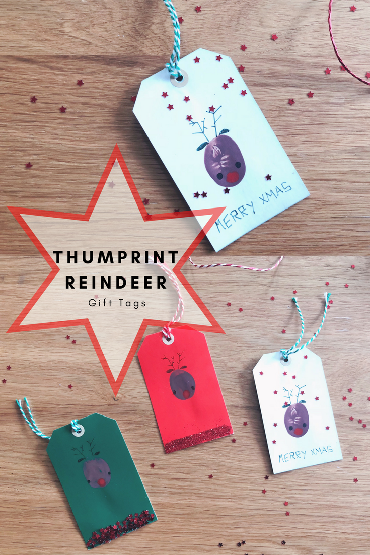 Thumbprint Reindeer Gift Tags. A simple Christmas craft to d with kids.